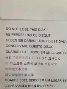 Do not lose this disk