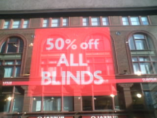 Schild 50% off All Blinds